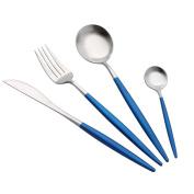 Tonsee 4PCS Set Stainless Steel Dinnerware Flatware Cutlery Fork Spoon Teaspoon