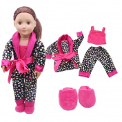 HP95(TM) 4pcs Barbie Pyjamas Set,Tops Pants Suspender Slipper for 46cm American Girl Our Generation Dolls