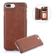 For iPhone 7 Plus/8 Plus Wallet Phone Case,Aearl TPU Back Protective Shell Cover PU Leather Flip Credit Card Holder ID Card Slot Pocket Purse,Screen Protector for Apple iPhone 8 Plus/7 Plus - Brown