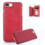 For iPhone 7 Plus/8 Plus Wallet Phone Case,Aearl TPU Back Bumper Shell Cover PU Leather Flip Credit Card Holder and ID Card Slot Pocket Purse,Free Screen Protector for iPhone 8 Plus/7 Plus-Rose Red
