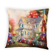 Fibre Optic Victorian House Accent Throw Pillow
