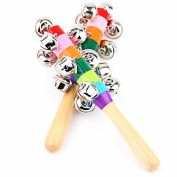 Mideand Baby Wooden Stick Rainbow Colour Hand Bell Rattle