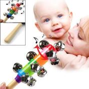 OKOKMALL US--Baby Kid Rainbow Pram Crib Handle Wooden Bell Stick Shaker Rattle Toy-C