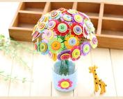Children Handmade DIY Craft Iron Wire Button Felt Bouquets Kit Child Gift,Make 40 Flowers