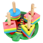 Funmily Wooden Stacking Toys & Shape Sorting Board Geometric Shape Sorter Early Childhood Development Toys for Kids