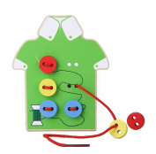 Kids Fine Motor Skills Toy --- Wooden Sewing on Buttons, Lacing Beads Board Toys, Sewing Play Kit Educational Toy for Toddlers and Preschoolers
