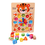 Ccassie Wooden Lovely Cartoon Sorting Toy Clock Puzzle Teaching and Counting Time Clocks Number Puzzle Learning Toy Birthday Gift Present