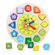 CiCy Wooden Educational Toys Shapes Sorting Teaching Clock Lacing Beads Games for Kids