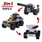Tianmei 90pcs Military styling Building Bricks Set, Navy Aeroplane Helicopter Armoured Tank Submarine Series Intelligence Creative Building Blocks Kids Toys