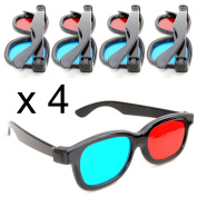 3D glasses red blue/cyan plastic framed – set of 4 pieces. Glasses for dimensional anaglyph movie/game. Made by Ganzoo