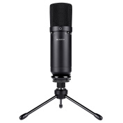 BC Master USB Condenser Microphone Recordings for Home Studio Skype Messages FaceTime Twitch YouTube Google Voice Search Games ecc, Compatible with Windows Mac, Cardioid- 1610USB Black
