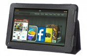 Invero® Leather Case Cover with Flip Stand Feature for Amazon Kindle Fire 18cm (Not HD) Tablet Includes Screen Protector & Stylus Pen - Black