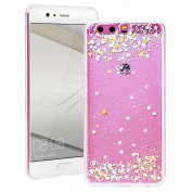Huawei P10 Plus Case, SmartLegend Huawei P10 Plus Phone Case Silicone Transparent Glitter Stars Paillettes Brilliant Bling Soft TPU Case Cover Clear Crystal Gel Rubber Bumper Lightweight Ultra Thin Protection Back Cover