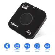 Bluetooth Receiver 4.2, LiDiwee Wireless Audio Aux Bluetooth Adapter (aptX Low Latency, Hand-free Calling, NFC Enabled) with 3.5mm Dual Audio Output, for Home/Car Stereo, Headphone, Speaker