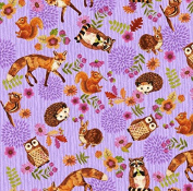 Fat Quarter Enchanted Forest Animals Fox Owl Lilac 100% Cotton Quilting Fabric