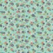 Cotton Fabric - Metre - Makower - Katie Jane - Multi Floral Teal