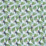 Toucan Birds & Tropical Palm Tree Leaves 100% Cotton Fabric - Black White & Green - sold by the metre
