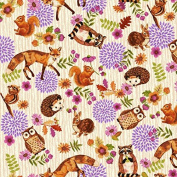 Fat Quarter Enchanted Forest Animals Fox Owl Cream 100% Cotton Quilting Fabric