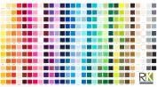KONA COLOUR FABRIC - Kona Printed Colour Chart FABRIC - RK241 - By 0.5 Metre - By Robert Kaufman - 100% Cotton