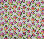 White Cotton Light Weight Fabric 110cm Wide Floral Print Sewing Craft Fabric By The Yard