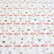 Cream Flamingo Bird & Tropical Plant Printed 100% Cotton Fabric - Coral Pink & Green - sold by the metre