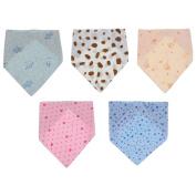 Prettyia 5Pcs Newborn Kids Baby Unisex Feeding Saliva Towel Dribble Triangle Bandana Bibs