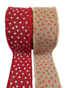 "Valentine's Day Burlap Ribbon with Wired Edge – Red Hearts on Natural and White Hearts on Red – 2 Rolls, Each 2.5"" x 10 Yards"