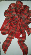 30cm Red Tartan Plaid wired 10 loop bow with Two 30cm and two 60cm tails for wreath or tree topper