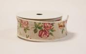 Decor Trader Burlap Rose Print Vintage Ribbon - Weddings Events - Decor Crafts
