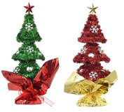 Red and Green Christmas Holdiay Tabletop Tinsel Trees With Ornaments, 23cm Inch. Bundle of 2 Items