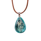 Women's Creative Luminous Dried Flower Teardrop Pendant Necklace Charm Chain Jewellery