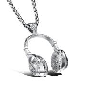 Fashion Necklace for Men, Mens Hip Hop Punk Style Microphone Earphone Pendant Necklace