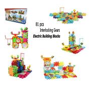 81 PCS Interlocking Building Blocks Gears Electric Brick Motorised Spinning Gear Learning Blocks Toy