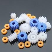 Bluemoona 30 Pcs - 2mm 2.3mm 3mm 3.17mm 4mm Modulus Modulus Plastic Gears Kits Pulley Belt Shaft Robot Motor bevel Set Worm Crown DIY