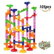 105 Pieces Marble Run Starter Set Maze Balls Track Toys Construction Child Building Blocks Toys for Kids, Children Gift