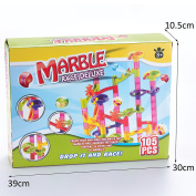 Minihorse Marble Run Railway Toys Construction Child Building Blocks Toys 105pcs with 75 Building Blocks Plus 30 Race Marbles Learning Construction Maze Toy Game for Kids 6-12 Years Old