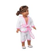 Perman 46cm American Girl Dolls Clothing, Cute Hooded Bathrobe for American Girl Our Generation Dolls