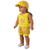 Doll Cloth,Showking Cute Hat & T-shirt & Pants For 46cm Our Generation American Girl & Boy Doll