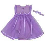 Homyl Purple Skirt Dress Clothing for 60cm - 60cm Reborn Baby Dolls Romper Dress Headband