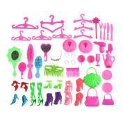 super1798 40Pcs/Set Doll Accessories Shoes Bags Glasses Hanger Hair Clip Child Toy for Barbie Doll - Random Colour