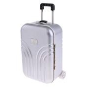 Baoblaze 1:6 Silver Suitcase Dolls Travel Luggage 6th Dollhouse Miniature Accessories