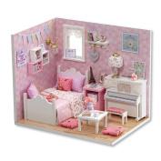 Dollhouse, Sacow 3D Handmade Miniature Princess Dollhouse DIY Wooden Mini House with Furniture Kit Light Kids Girls Gift