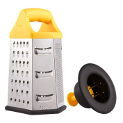 Stainless Steel 6-Sided Box Grater - Includes Hand Guard - Quickly Grate Cheese, Vegetables, Sweet Potatoes, Carrots, Lemons, Ginger and More - 5.75 x 11cm x 23cm