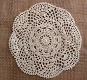 PaperLanternStore.com 20cm Round Handmade Cotton Crochet Doilies - Beige