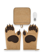 Bear Paw Oven Mitt Kitchen Gift Set by Toem - Includes 2 Bear Silicone Padded Oven Mitts, 1 Terry Cloth Pot Holder & Free Self Adhesive Hook
