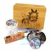 Rick-Morty Laser Etched Sacred Geometry Stash Box, 4.1cm Zinc Alloy Grinder, Small Stash Jar - ALL IN ONE Box Package Item# WBCS011518-2
