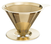 """Osaka Titanium Coated Pour Over Coffee Dripper with Double Layered Filter, """"Patent"""" Paperless and Reusable Cone Shaped Filter """"Himeji-jo"""""""