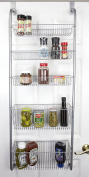 Home Basics Over the Door Pantry Spice and Jar Rack Organiser 5-Tier Great Space Saver Storage for Multipurpose Use For Kitchen Cabinets, Bedrooms, Playrooms, Books Etc.