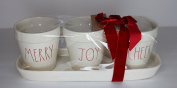 Rae Dunn Magenta Ceramic Merry Joy Cheer Utensil Holders with Tray Artisan Collection Christmas Red Writing