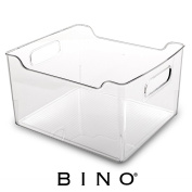 BINO Refrigerator, Freezer and Pantry Cabinet Storage Organiser Bin with Handles, Clear and Transparent Wide Nesting Food Container for Home and Kitchen